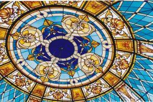 Stained glass and sclupted glass domes and sculptures