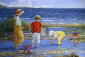 Sally Swatland  Beach Oil Painting