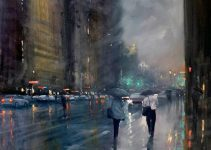 rainy-day acrylic painting | Mike Barr