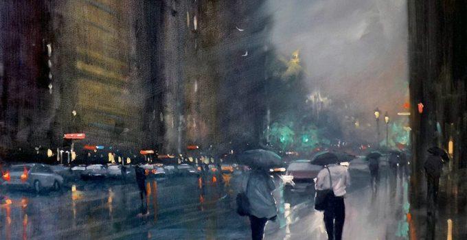 rainy-day acrylic painting | Mike Barr