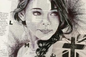 Ball pen portrait on newspaper | Sam Guillemot