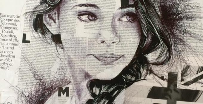 Ball pen portrait on newspaper | Sam Guillemot