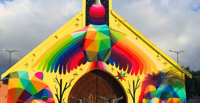 Amazing Geometric Murals on an Abandoned Church in Morocco by Okuda San Miguel
