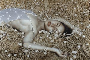 Beautiful Oil and Gold Leaf Painting by Brad Kunkle