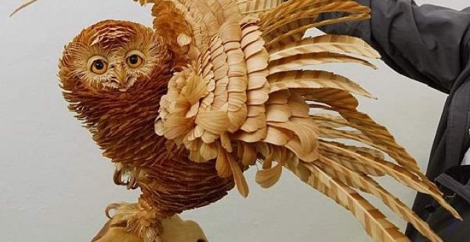 Amazing sculptures out of Siberian cedar wood-chips by SERGEI BOBKOV.
