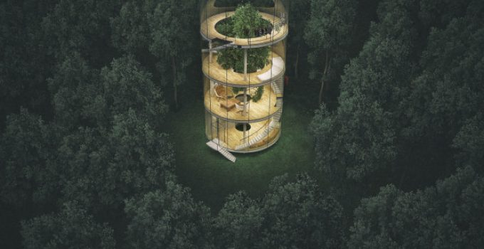 Glass house around a Tree