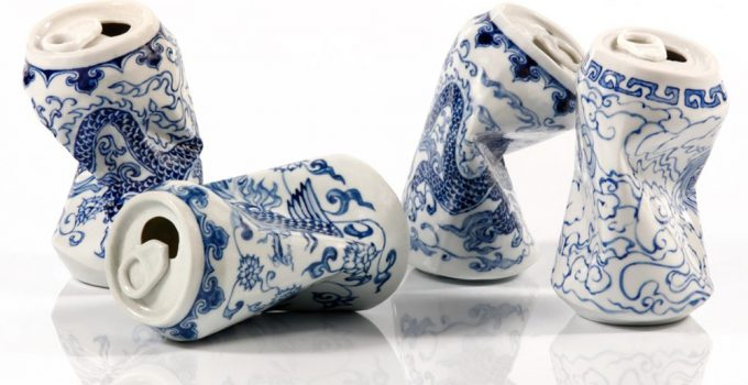 Chinese artist Lei Xue sculpted Smashed Can Porcelain