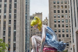 45-Foot-Tall Inflatable Ballerina at NYC's Rockefeller Center by pop artist Jeff Koons