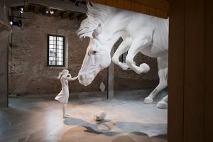 Incredible Venice Biennale Installation a Giant White Horse Frozen in Mid-Air #artpeople