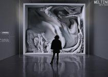 Melting Memories combines data paintings, light projections, and augmented data sculptures