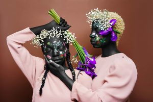 Photographer and designer Ceres Henry Creates Beautiful portrait subjects with floral body paint and fresh blossoms in her Adam & Eve series.